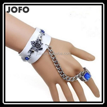 Punk Skull Rivets Link Chain PU Leather Bracelet Punk Biker Emo Bracelet Rivets Chains Leather