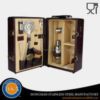 wooden box stainless steel wine accessories gift set for bar