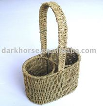 Handle Grass Woven Wine Basket