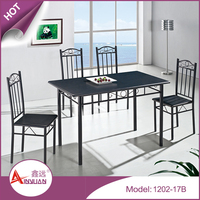 Cheap dinning room furniture table and chairs black top MDF wood dining table set