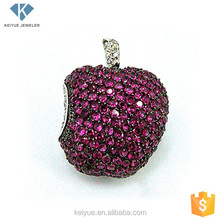 925 silver shine cz stone big red apple brooches and pins bulk for dresses
