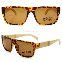 2014 hot selling women tortoise flat top tac lens polarized wood bamboo sunglasses