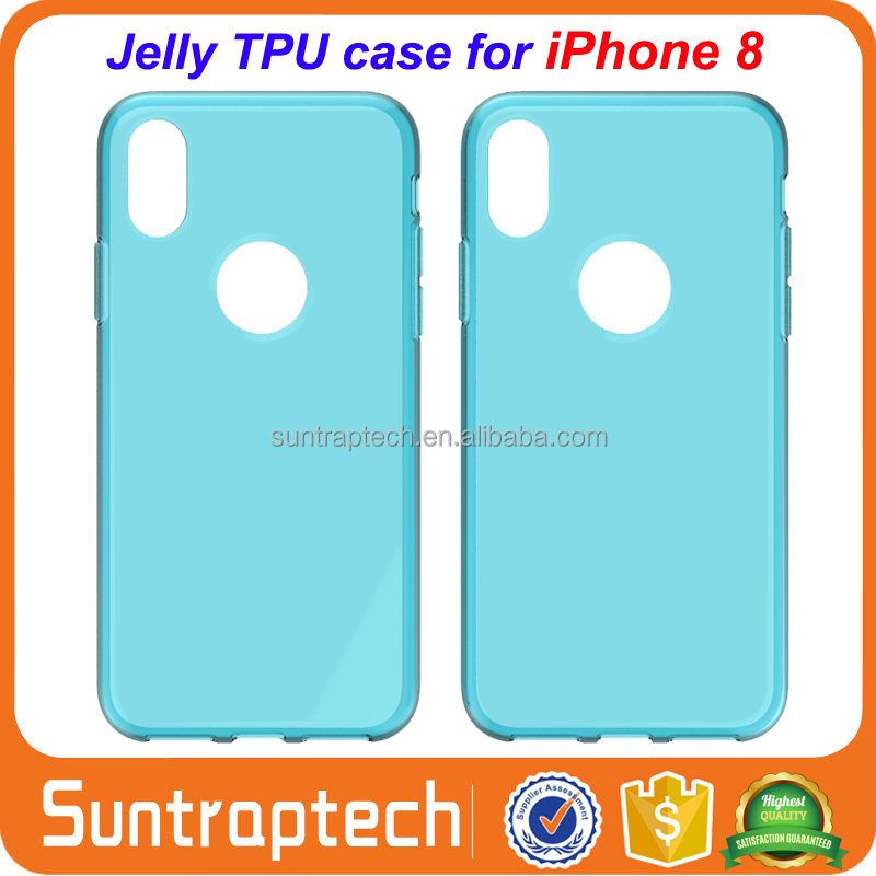 Glossy Jelly Candy Soft Silicone Rubber TPU Gel Case Back Cover Shell Skin Bag for iPhone 8 X 10 IP8C02