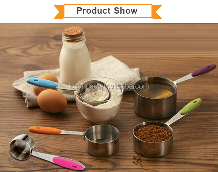 Stainless Steel Measuring Spoon Set With Silicone Handle