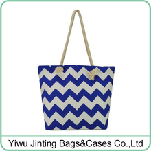 Standard size chevron canvas tote bag beach bag with rope handle