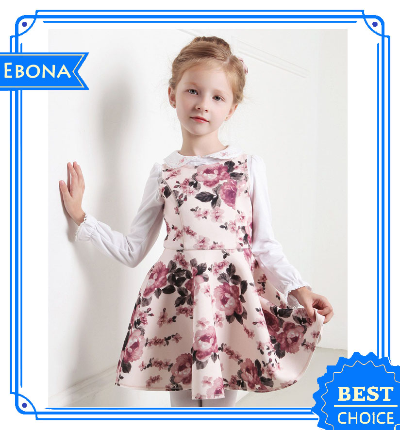 Rose Printing Girl Dress Kid Dress Girls Dress Name With Pictures