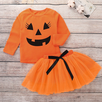 Halloween baby clothes set Masquerade show performance party dress and tshirt