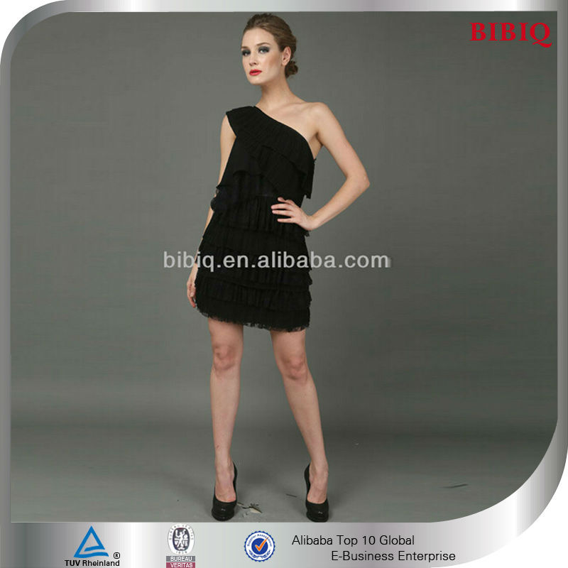 Elegant Women One Shoulder Black Short Sexy Cocktail Dress Patterns