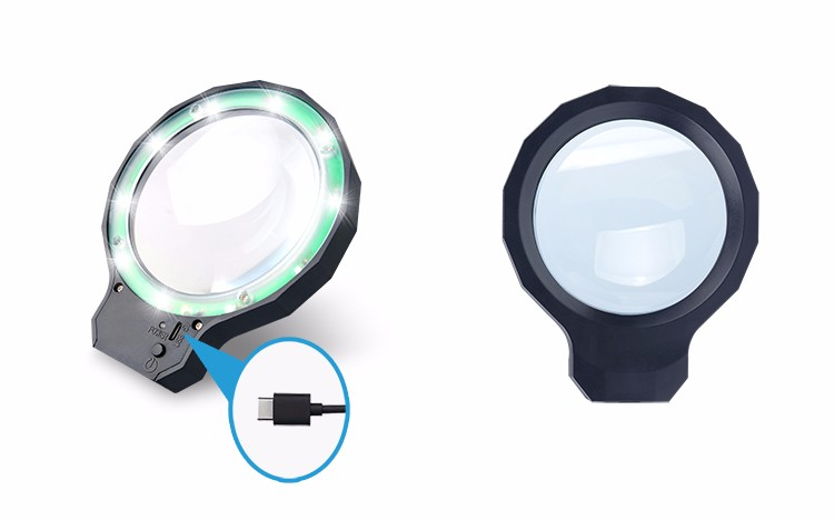 DH-88001 High Quality 3X Best Usb Illuminated Magnifying Glass Lamp,Flexible Arm Desktop Magnifier With Led Light