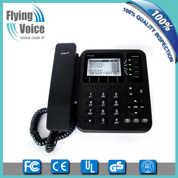 low cost free sip phone hosted sip phone business voip system phone with 3-way conference IP542N