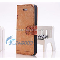 New world map leather PU cell phone case for Iphone5