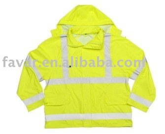 Hi Vis fluorescent yellow reflective safety Waterproof Jacket