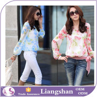 OEM Wholesale Latest Fashion Ladies Womens O Neck Chiffon T Shirt Floral Print Long Sleeve Blouse Designs Casual Top