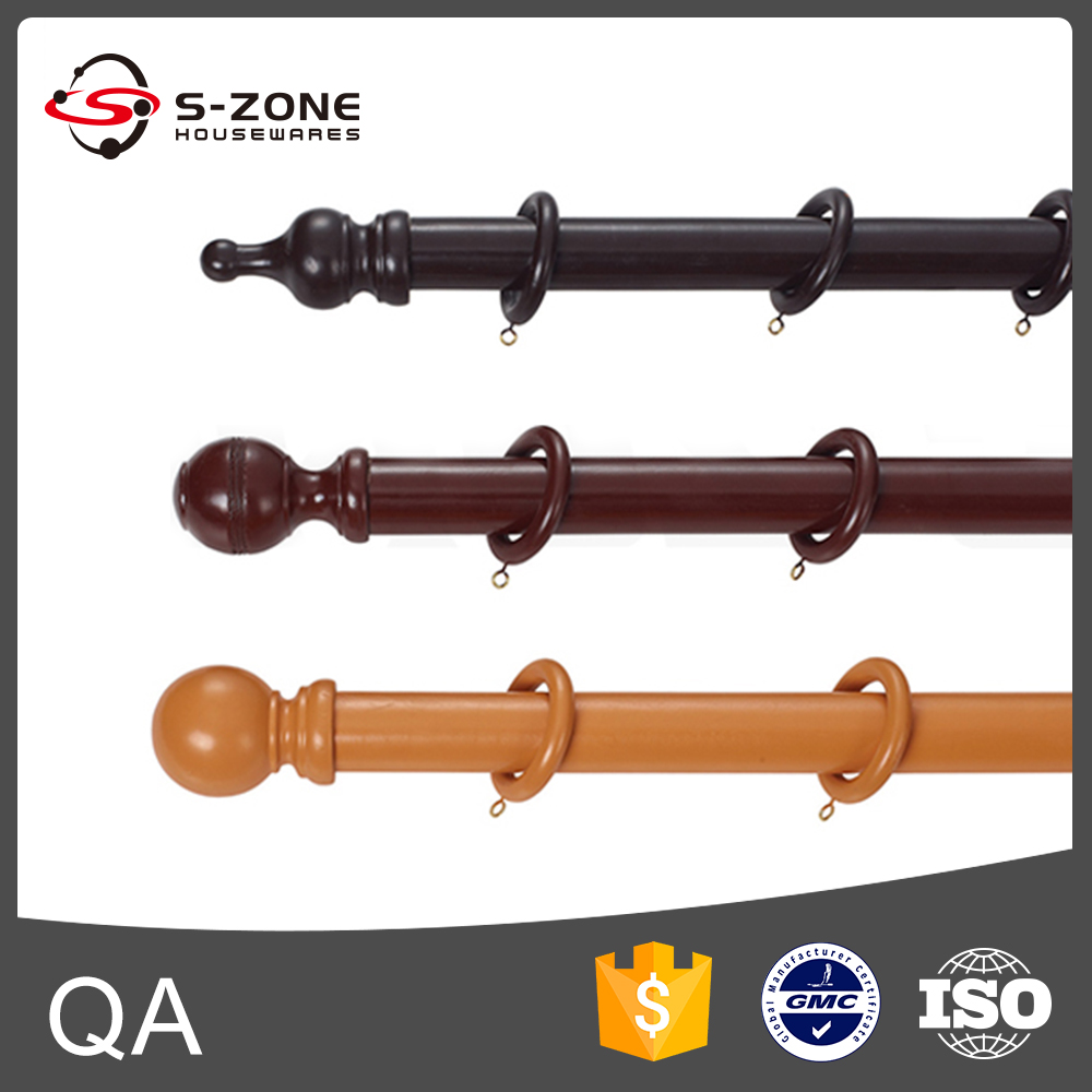Curtain Rod in Satin Nickel wooden curtain rod set with round head
