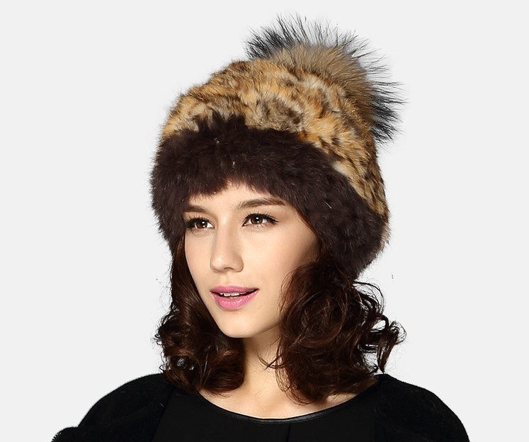 H373-women's quality beanies with knitted rabbit fur and raccoon ball,fashion autumn winter natural fur hats