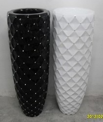 2014 SJ FP56 Wholesale artificial flower pot in wedding hotel decorative big plastic flower vase ceram tall vase black flowerpot
