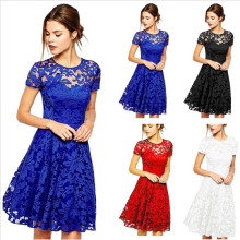 Hot selling fashion and elegant women casual dress round neck solid color one-piece dress lace dress