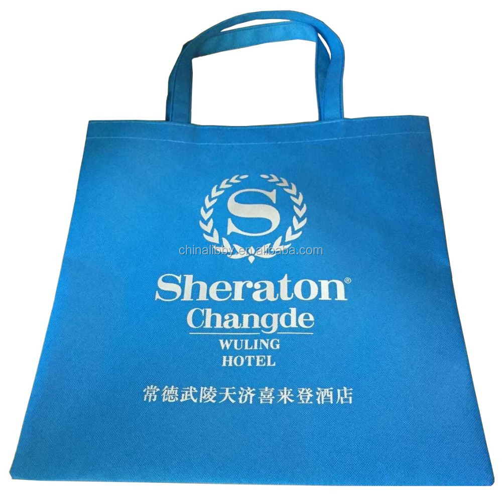 Sheraton Hotel promotional customized silk-screen printing grocery non woven tote bag