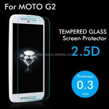 For Motorola Moto G2 Premium Tempered Glass Protective Film Screen Protector clear 2.5D Round 0.3mm