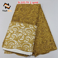 2015 evening gown guipure cord lace fabric of SL10179 gold