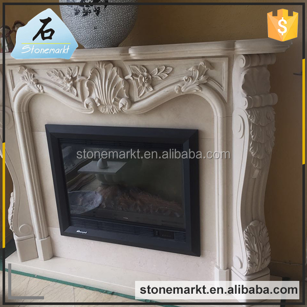Indoor used fireproof marble mantel decorative electric fireplace