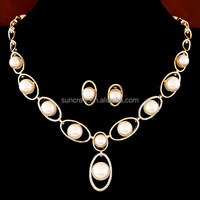 New arrival wholesale women costume jewelry no.SN15197 latest design elegant pearl jewelry set