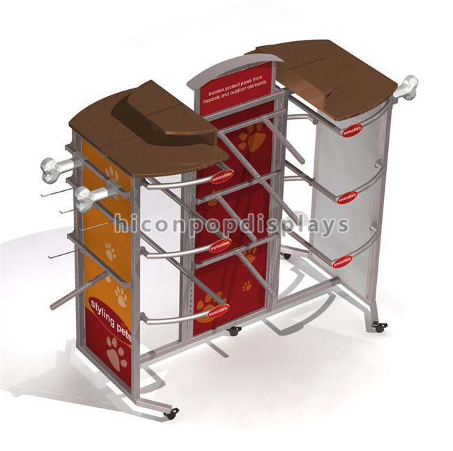 Custom Design Movable Flooring Metal Material Pet Shop Products Retail Store Dog Clothes Display Rack