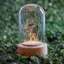 Evermore großhandel mini led licht klar cloche glas dome flasche dekoration licht mit basis