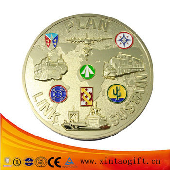 Newest metal stamping souvenir coins with brass plating