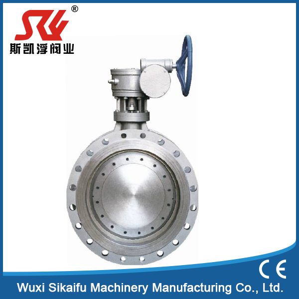 metal to metal two-way null leak sealing worm gear operated three eccentric butterfly valve