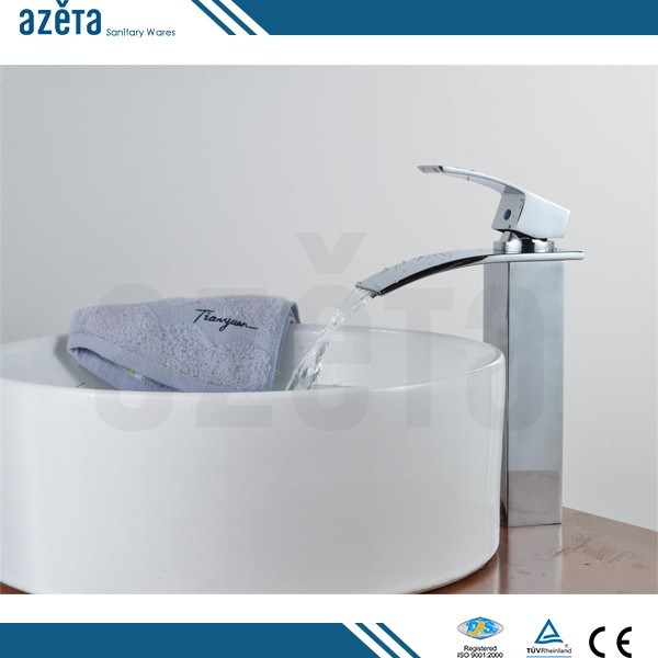 Online Shopping Dropshipping Simply Straight Body Bathroom Washrooms Waterfall Brass Wash Basin Faucet