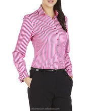 2014 High Quality 100% cotton pink stripe women formal shirts designs