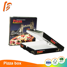 Custom black pizza box design ivory board paper food box packaging