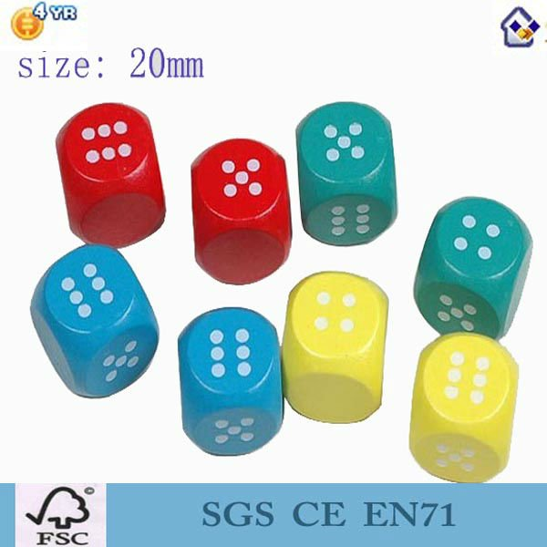 18mm 6 sided Colored wood dice and blank dice for game
