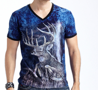 Factory price designers top quality mens trendy v-neck sublimation t shirt