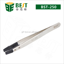 BEST Antistatic stainless steel tweezers with rubber tip