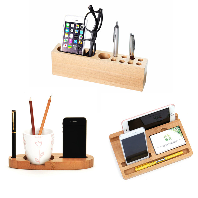 bamboo wood office desk organizer