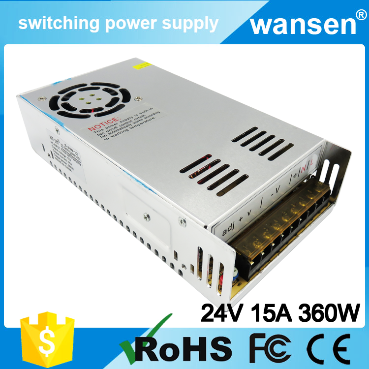 CE ROHS approved 220v input 24v output 24v 15a switching power supply S-350-24