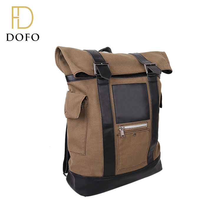 Fashion high quality brownness leisure mountain top hiking backpack canvas