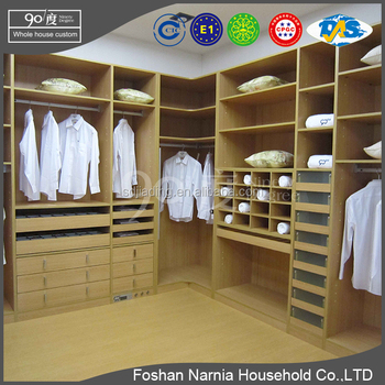 Ninety Degree movable wardrobe design mdf wood Walk in Closet China furniture manufacturers Narnia