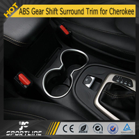 ABS Matt Silver Color Gear Shift Shifter Surround Trim Cup Holder Trim for Cherokee 14-16
