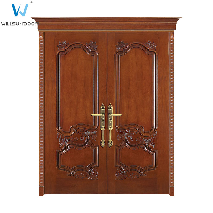High Class Decent Carving Fireproof Double Leaf Entry Wood Hotel Door