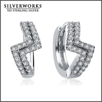 2016 Wholesale New Product Silver 925 Lightning Huggie Earings With CZ For Women