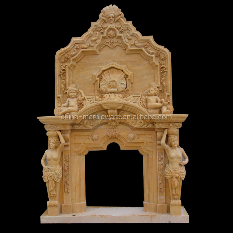 marble hand carving outdoor gas fireplace