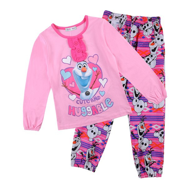 2015 Wholesale New Kids Home Wear Snow Man Girl Pajamas Winter Long Sleeve 100%cotton Pant +T-shirt