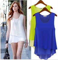 walson EURAMERICAN STYLE BLOUSE, SUMMER CHIFFON BLOUSE, FAKE TWO PIECES boutique lace ropa mujer