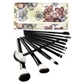 2017 Amzon hot selling professional 12pcs cosmetic makeup brush set with flower bag