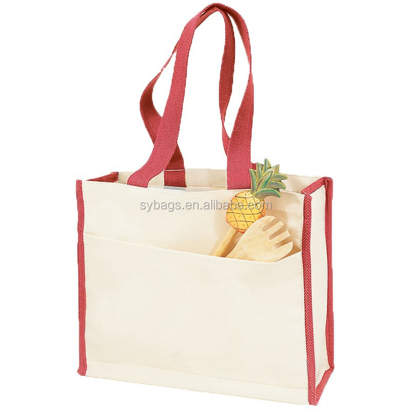 Promotional High Quality Natural Canvas Tote Bag W/Side Stripes