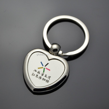 custom heart keyring with silk screeen printing logo
