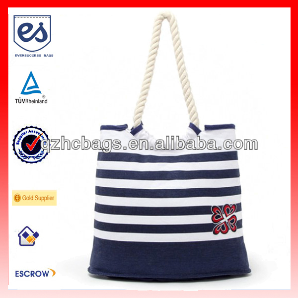 Navy Blue White Stripe Beach Handbag for Woman (ESC-HB021)